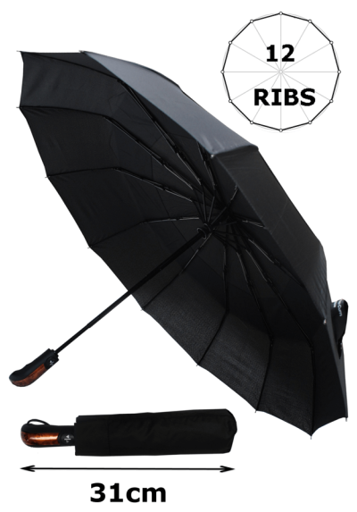 Rare 12 Rib Compact Umbrella, 4 Extra for Strength - 80kph Strong Reinforced Windproof Frame with Fiberglass - Vented Double Canopy - Small Folding Auto Open & Close - Black
