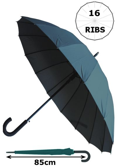 Windproof 60MPH - 16 Ribs For SUPER-STRENGTH - EXTRA STRONG - TRIPLE LAYER Reinforced Frame With Fiberglass - StormProtector Straight Umbrella - Auto Open - Grey Canopy