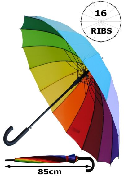 Windproof 60MPH - 16 Ribs For SUPER-STRENGTH - EXTRA STRONG - TRIPLE LAYER Reinforced Frame With Fiberglass - Best Umbrella For Colour - StormProtector - Automatic Umbrella - Rainbow Canopy Wedding Umbrellas
