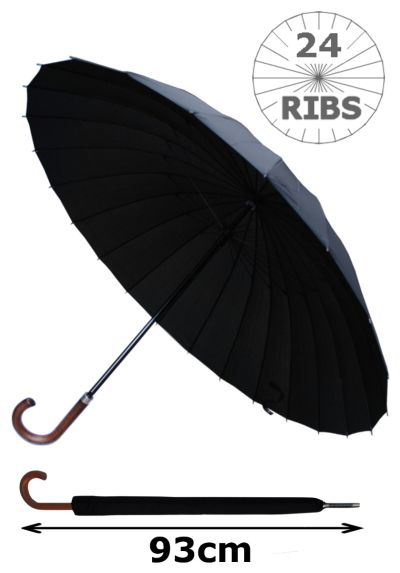 24 Ribs for Super-Strength - Windproof 60MPH Extra Strong - Triple Layer Reinforced Frame with Fiberglass - Best Umbrella For Most Ribs - Wooden Hook Handle Men's Umbrella - Black Umbrella - Automatic Large Umbrella