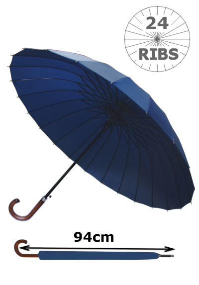 24 Ribs for Super-Strength - Windproof 60mph Extra Strong - Triple Layer Reinforced Frame with Fiberglass - Auto - Hook Handle Wood - Navy Blue Canopy Umbrella - Automatic