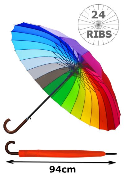 24 Ribs for Super-Strength - Windproof 60mph Extra Strong - Triple Layer Reinforced Frame with Fiberglass - Auto - Hook Handle Wood - Rainbow Canopy Umbrella