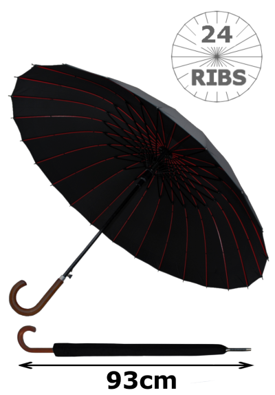 24 Ribs for Super-Strength - Windproof 60mph Extra Strong - Triple Layer Reinforced Red Ribs Frame with Fiberglass - Auto - Hook Handle Wood - Black Canopy Automatic Umbrella