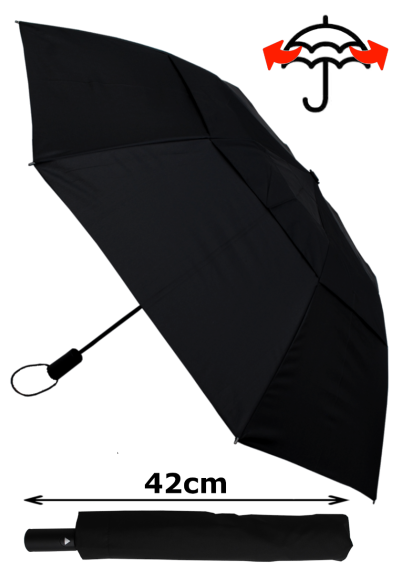 Our Strongest Folding Umbrella - 2-Fold Extra Strong Design, 42cm When Closed - StormDefender - Windproof Reinforced Triple Layer Fiberglass Frame - Vented Canopy Auto Black