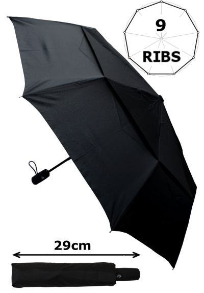 80KPH 9 Rib STRONG Reinforced WINDPROOF Frame With Fiberglass Umbrella - Vented Double Canopy Regulates Gusts - Small Compact Folding - Auto Open & Close - Black