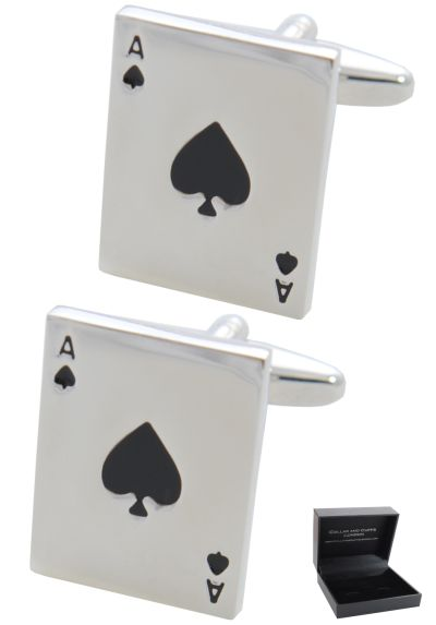 PREMIUM Cufflinks WITH PRESENTATION GIFT BOX - High Quality - Ace of Spades - Pack of Cards - Poker Magic Magician Game - Silver Colour