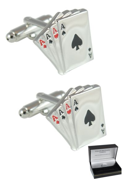 PREMIUM Cufflinks WITH PRESENTATION GIFT BOX - High Quality - Four Aces - Solid Brass - 4 Aces Pack of Cards - Poker Magic Magician Game - Silver Colour