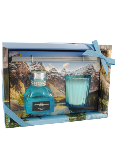 THE LONDON FRAGRANCE STORE - Mountain Reflections - Luxury Scented Candle + Reed Diffuser Set - Quality Fragrance Oil - Amber Musk - Our Clever Wax Formula Lasts Longer - Quality Cotton Candle Wick