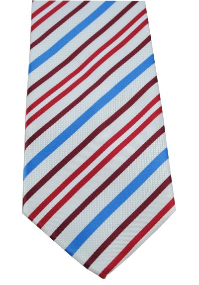 HIGH QUALITY Handmade Tie - Striped - A Striking Tie With Personality - Arctic White With Navy Blue and Red Stripes