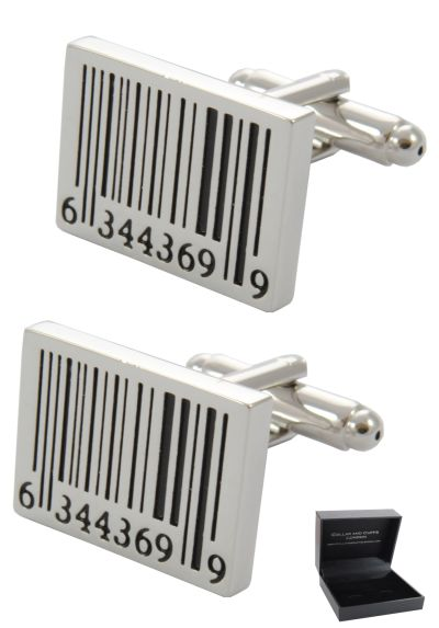 PREMIUM Cufflinks WITH PRESENTATION GIFT BOX - High Quality - Barcode - Shop Shopping Scan Oblong - Rectangle Oblong Shape - Silver and Black Colours
