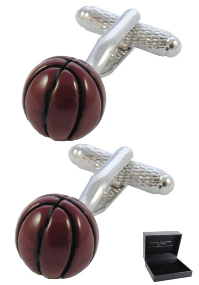 PREMIUM Cufflinks WITH PRESENTATION GIFT BOX - High Quality - Basketball Ball - Basket Goal Net Court Match Sport Shoot Hoop - Brown Colour