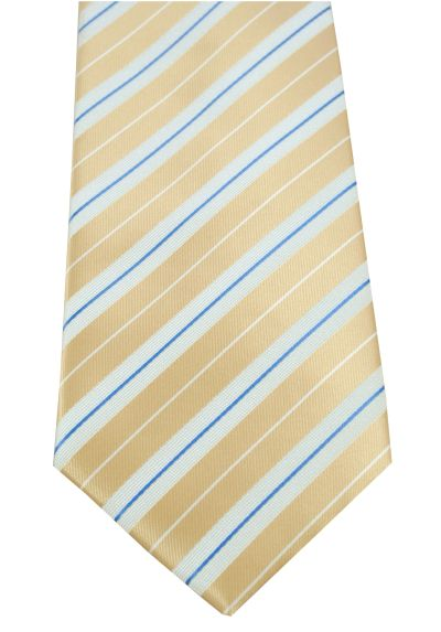 HIGH QUALITY Handmade Tie - Striped - A Timeless Classic - Gold, White and Blue Stripes