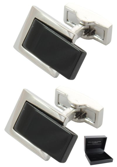 PREMIUM Cufflinks WITH PRESENTATION GIFT BOX - High Quality - Belt Buckle Effect - Rectangle Oblong Fashion Style Design - Silver and Black Colours