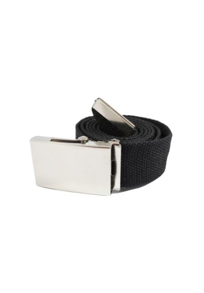 Durable Canvas Belt - Jet Black - Silver Brushed Metal Buckle - High Quality