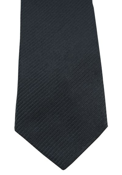 HIGH QUALITY Handmade Woven Tie - 100% Pure Silk - A Timeless Classic - Midnight Black with Diagonal Ribbing - Plain Pattern
