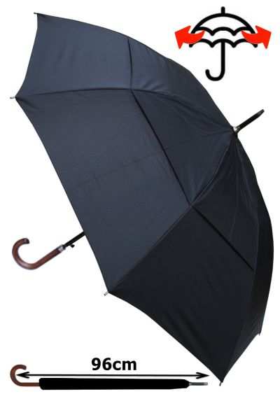Windproof Umbrella EXTRA STRONG - StormDefender City Large Umbrella - Vented Double Canopy - HIGHLY ENGINEERED TO COMBAT INVERSION DAMAGE - Auto Open - Solid Wood Hook Handle - Black Men's Umbrella