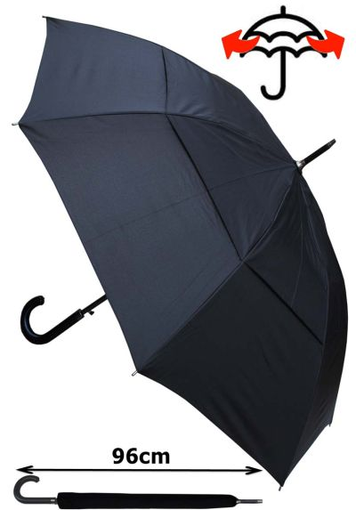 60MPH Windproof EXTRA STRONG - StormDefender City Reinforced Fiberglass Frame Umbrella - Vented Double Canopy Regulates Gusts - Auto Open - Leather Style Hook Handle - Black