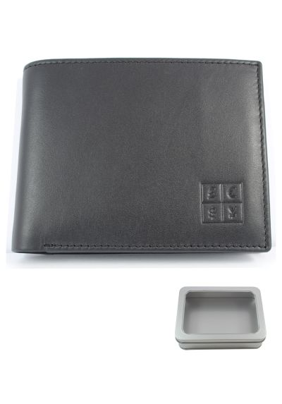 RFID Blocking - High Quality Multi Function Leather Wallet - Genuine Soft Leather - Two Note Sections - Six Credit Card Slots - Coin Compartment - Photo ID - Jet Black - Slim - With Gift Tin