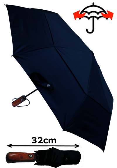 Windproof 50mph StormDefender - Reinforced Fiberglass Frame - Vented Canopy - Strong Compact Small Folding Waterproof Umbrella - Auto Open and Close - Black