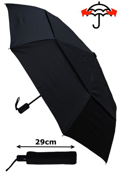 Windproof Umbrella - StormDefender Vented 80KPH STRONG Reinforced Frame With Fiberglass - Compact Umbrella - Small Folding - Double Canopy Regulates Gusts - Auto Open & Close - Black Umbrella