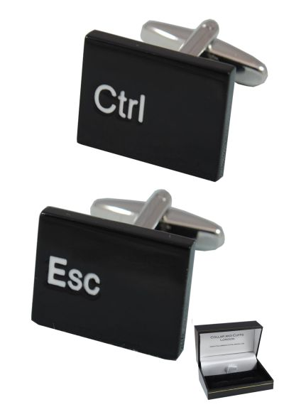 PREMIUM Cufflinks WITH PRESENTATION GIFT BOX - High Quality - Ctrl Esc Computer Keyboard - Solid Brass - IT PC Key Rectangle Oblong Modern - Black Colour