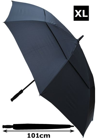 152cm Arc Windproof 60MPH EXTRA STRONG Golf Umbrella - Reinforced Frame With Fiberglass - StormDefender XL - Vented Double Canopy Regulates Gusts - Auto Open - Black