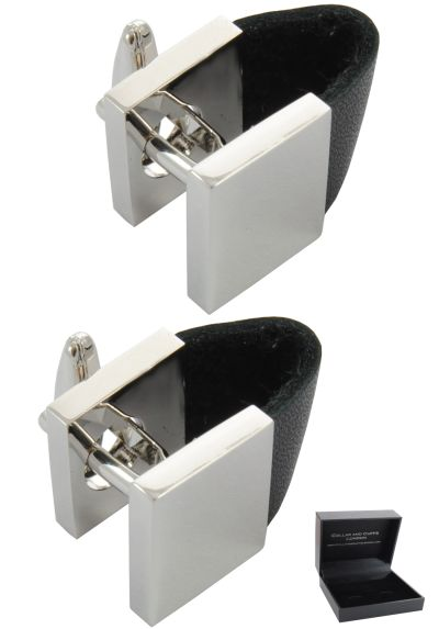 PREMIUM Cufflinks WITH PRESENTATION GIFT BOX - High Quality - Unusual Leatherette Strap and Square Wrap Around - Silver and Black Colours