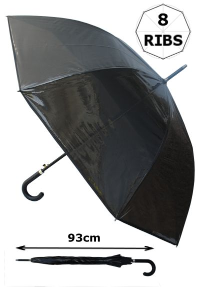 Rare Transparent Umbrella with Black Tint - Windproof 60mph Extra Strong - StormDefender - 111cm Diameter Reinforced Fiberglass Frame - Auto Open - Leather Style Hook Handle
