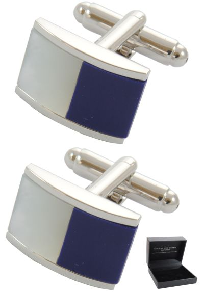 PREMIUM Cufflinks WITH PRESENTATION GIFT BOX - High Quality - Half Barrel Dual Colour Including Mother of Pearl - Classic Fashion Design - Blue and White Colours