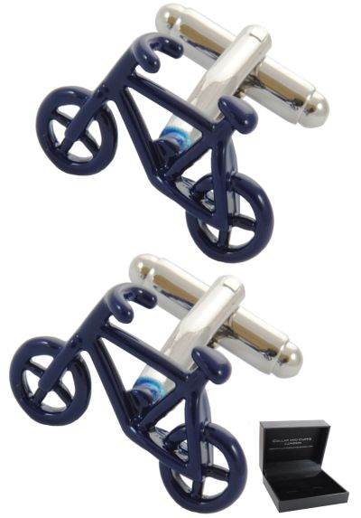 PREMIUM Cufflinks WITH PRESENTATION GIFT BOX - High Quality - Bicycle - Blue Colour - Cycling - Pedal Bike - Cycle