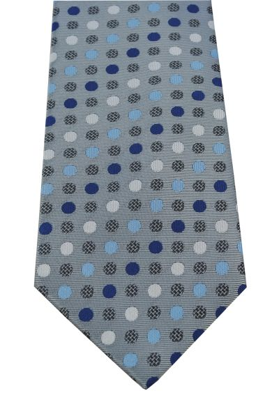 HIGH QUALITY Handmade Tie - A Timeless Classic - Charcoal Grey with Blue and White Spots