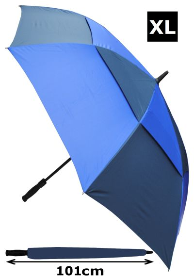 152cm Arc Windproof 60MPH EXTRA STRONG Golf Umbrella - Reinforced Frame With Fiberglass - StormDefender XL Vented Double Canopy Regulates Gusts - Auto Open Royal & Navy Blue