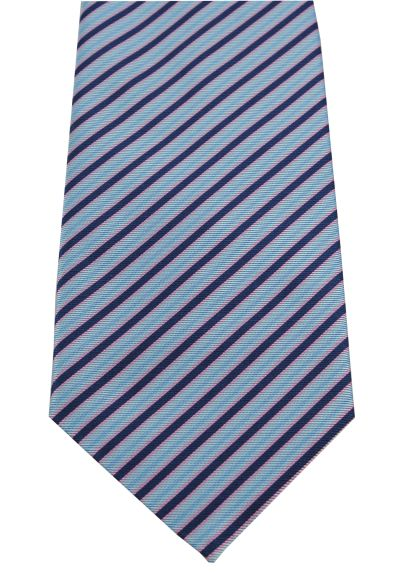 HIGH QUALITY Handmade Tie - Striped - Royal Blue and Sky Blue Stripes With Pink and Green Accents