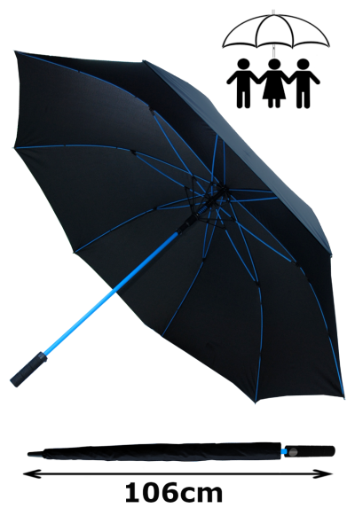XXL Windproof Golf Umbrella 172cm Arc 60mph - Extra Strong - StormFighter Jumbo Large Umbrella - Blue Reinforced Fiberglass Frame - Auto Open - Non Slip Handle - Black Canopy