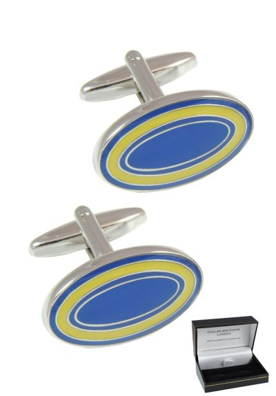 PREMIUM Cufflinks WITH PRESENTATION GIFT BOX - High Quality - Dual Colour Oval - Solid Brass - Classic Style - Blue and Yellow Colours
