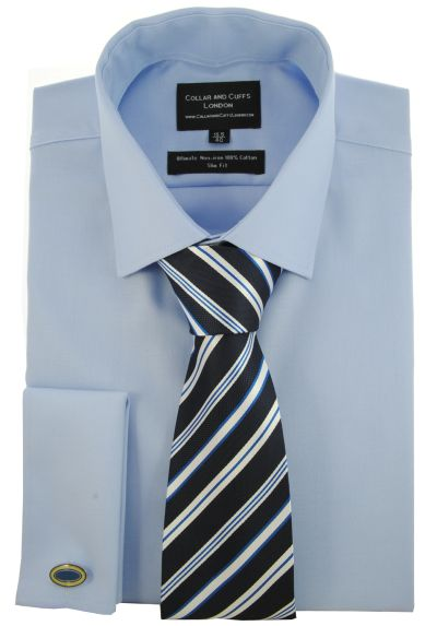 SHIRT, TIE AND CUFFLINK SET - Ultimate Non-Iron - Luxury 100% Cotton - Fit Guaranteed - Twill Fabric - Men's Shirt - Long Sleeve - Blue - Slim Fit, Double Cuff - Plain - BSH