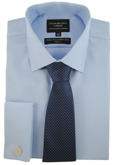 SHIRT, TIE AND CUFFLINK SET - Ultimate Non-Iron - Luxury 100% Cotton - Fit Guaranteed - Twill Fabric - Men's Shirt - Long Sleeve - Blue - Slim Fit, Double Cuff - Plain - BSL