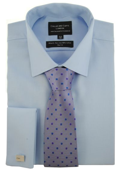 SHIRT, TIE AND CUFFLINK SET - Ultimate Non-Iron - Luxury 100% Cotton - Fit Guaranteed - Twill Fabric - Men's Shirt - Long Sleeve - Blue - Slim Fit, Double Cuff - Plain - BSB