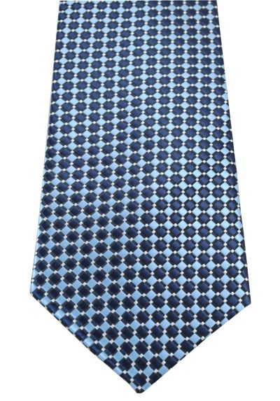 HIGH QUALITY Handmade Tie - A Colourful Twin Square Pattern - Navy Blue and Sky Blue