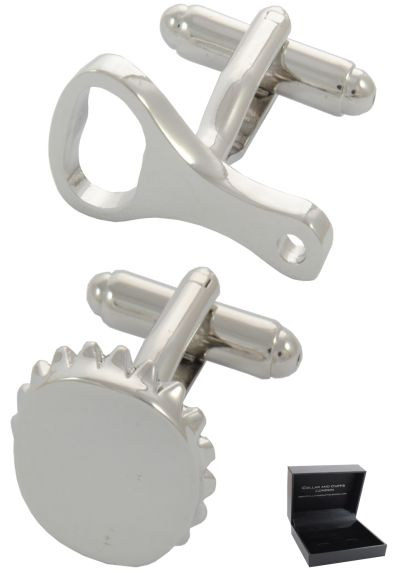 PREMIUM Cufflinks WITH PRESENTATION GIFT BOX - High Quality - Bottle Opener and Bottle Top - Beer Round - Silver Colour