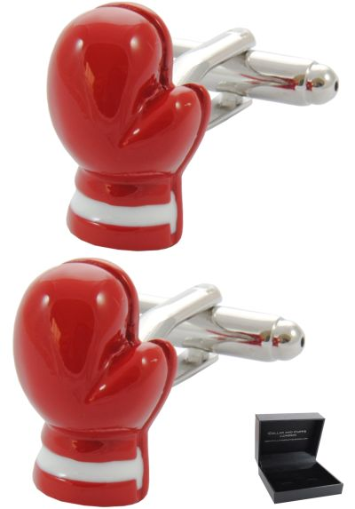 PREMIUM Cufflinks WITH PRESENTATION GIFT BOX - High Quality - Boxing Glove - Sport Ring Fight Referee Punch - Red Colour