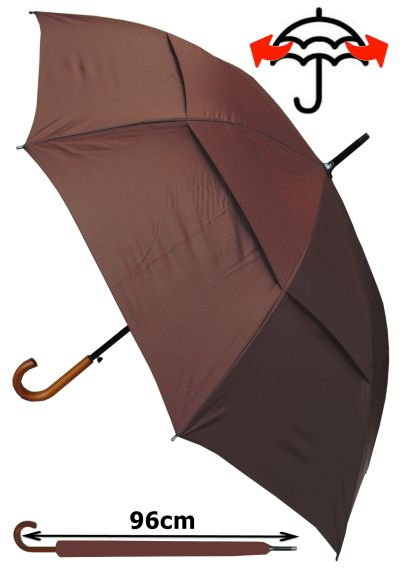 Reinforced 60MPH Frame With Fiberglass - Windproof EXTRA STRONG - StormDefender City Umbrella - Double Canopy Regulates Gusts - Auto Open - Solid Wood Hook Handle - Brown