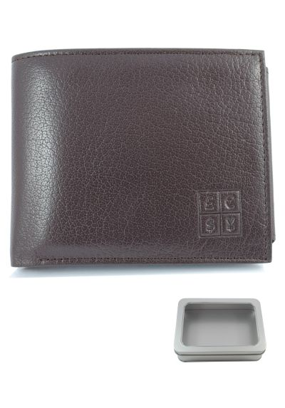 RFID Blocking - High Quality Multi Function Leather Wallet - Genuine Textured Leather - Two Note Sections - Seven Card Slots - Coin Compartment - Photo ID - Oak Brown - Slim - With Gift Tin