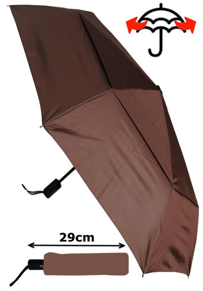 Windproof - COMPACT YET STRONG - Reinforced Frame With Fiberglass - StormProtector Small Folding Umbrella - Vented Double Canopy Regulates Gusts - Auto Open & Close - Brown