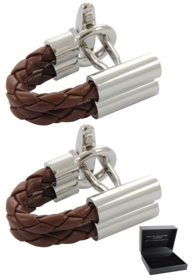 PREMIUM Cufflinks WITH PRESENTATION GIFT BOX - High Quality - Double Plait Wrap Around C Style Leatherette - Brown and Silver Colours