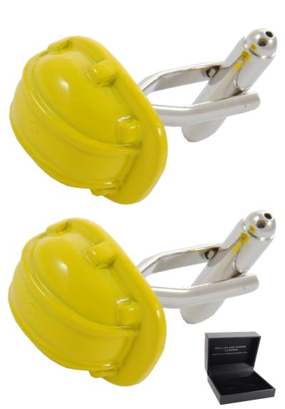 PREMIUM Cufflinks WITH PRESENTATION GIFT BOX - High Quality - Hard Hat - DIY Builder Construction Engineer Supervisor - Yellow Colour