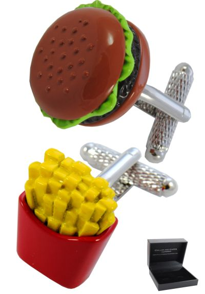 PREMIUM Cufflinks WITH PRESENTATION GIFT BOX - High Quality - Burger and Fries - Food Restaurant Chips - Brass - Brown Red and Yellow Colours