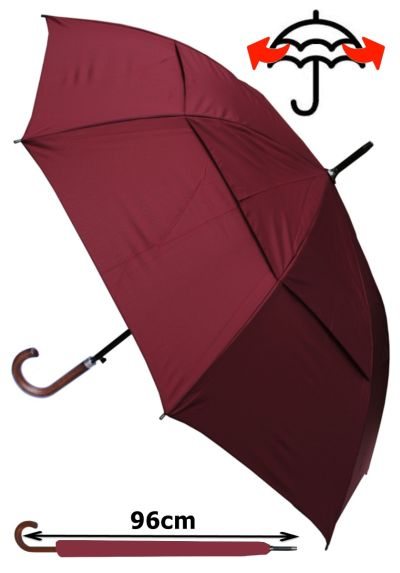 Windproof EXTRA STRONG - StormDefender City Umbrella - Vented Double Canopy - HIGHLY ENGINEERED TO COMBAT INVERSION DAMAGE - Auto Open - Solid Wood Hook Handle - Burgundy Red