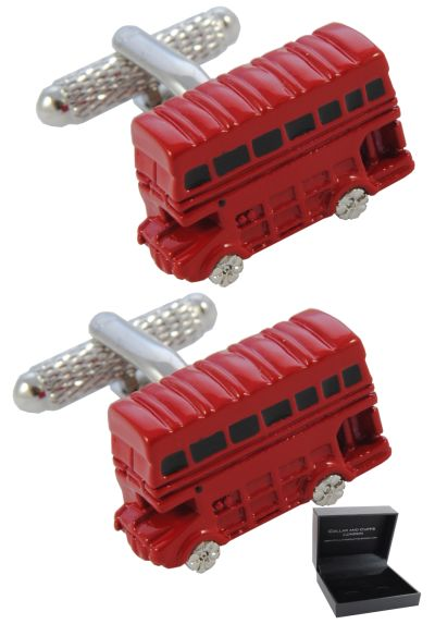 PREMIUM Cufflinks WITH PRESENTATION GIFT BOX - High Quality - London Double Decker Bus - Brass - England British Classic Transport Spotter - Red Colour