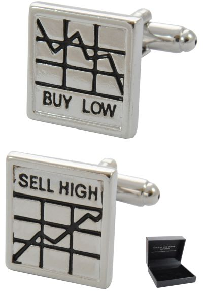 PREMIUM Cufflinks WITH PRESENTATION GIFT BOX - High Quality - Buy Low - Sell High - Stocks and Shares - Traders Square Stockbroker Banker - Silver and Black Colours